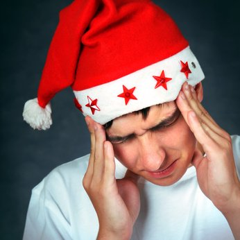 Painful Teenager in Santa Hat