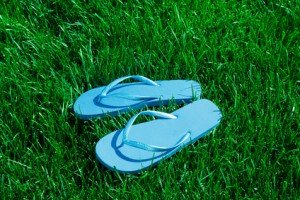 Closeup of flip flops on green grass