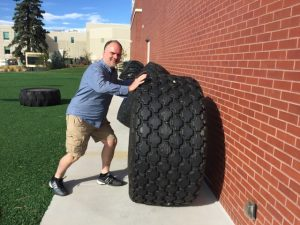 Testing out a tire exercise at the U.S. Olympic training facility.